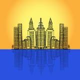 Reklamfilm kontor, höghus, byggnad, stad, horisont, vektorillustration i den plana designen för webbplatser, Infographic design Royaltyfria Foton