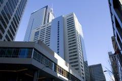Reklamfilmbyggnader i i stadens centrum Seattle Royaltyfri Fotografi