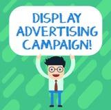 Reklamkampanj för handskrifttextskärm Begreppsbetydelsen framför ett kommersiellt meddelande genom att använda diagrammananseende royaltyfri illustrationer