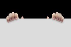 Reklamować: Ręki mienia pusty papier Zdjęcie Royalty Free
