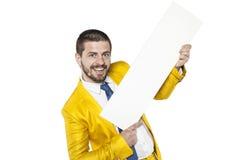 Reklamowa dźwignia handel biznesmen w złotym kostiumu zdjęcia royalty free