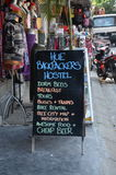 Reklamować odcieni Backpackers schronisko Zdjęcie Stock