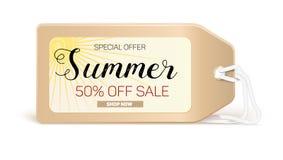 Reklamowe sztandar sprzedaże z typografią Lato sprzedaż 50 procentów rabat, zakup teraz Obrazy Stock