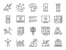 Reklamowy kreskowy ikona set Zawierać ikony, online marketing, blogger, influencer, mobilny marketing i więcej jak reklamuje, ilustracji