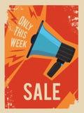 Reklamowy plakat z ilustracją stary megafon ilustracja wektor