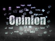 Reklamowy pojęcie: Opinia w grunge ciemnym pokoju obraz royalty free