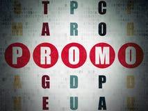 Reklamowy pojęcie: słowa Promo w rozwiązywać Obraz Stock