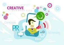 Reklamowy pojęcie z słowami PR kreatywnie Obrazy Royalty Free