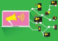 Reklamuje Ogólnospołecznej sieci Biznesowego Wektorowego megafon royalty ilustracja