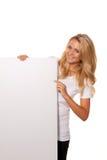 reklamuje otwarcie pustego plakat kobieta Fotografia Stock