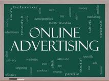 Reklamy Online słowa chmury pojęcie na Blackboard Zdjęcie Stock