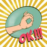 reko handgest och att betyda överenskommelse Retro illustrationer för efterföljd Tappningbild med halvton Positivt lynne stock illustrationer