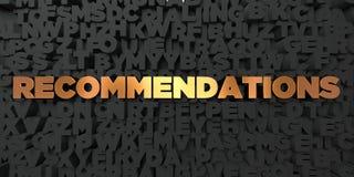 Rekomendacje - Złocisty tekst na czarnym tle - 3D odpłacający się królewskość bezpłatny akcyjny obrazek ilustracji