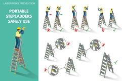 Rekommendationer om att använda trappstegar säkert Fotografering för Bildbyråer