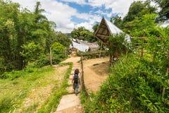 Rekonesansowa tradycyjna wioska w Taniec Toraja Obraz Stock
