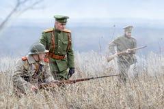 Rekonstruktion av det första världskriget, deltagare i form av den kungliga armén av den ryska välden November 1 Arkivfoton