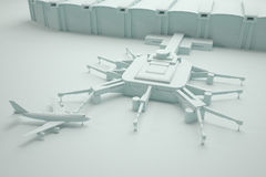 Rekonstruktion av en flygplatsterminal och flygplan Royaltyfri Bild