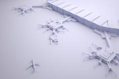 Rekonstruktion av en flygplatsterminal och flygplan Arkivbild