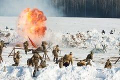 Rekonstruktion av händelserna i ändelsen 1943 striden av Stalingrad. arkivfoton