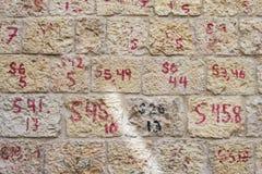 Rekonstruktion av numrerade tegelstenar för Mamilla grannskap Arkivbilder