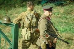 Rekonstruktion av striden av världskriget 1941 2 i den Kaluga regionen av Ryssland Fotografering för Bildbyråer