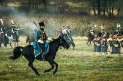 Rekonstruktion av strider av det patriotiska kriget av 1812 ryska stad Maloyaroslavets Arkivfoto