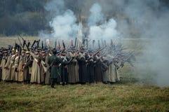 Rekonstruktion av strider av det patriotiska kriget av 1812 ryska stad Maloyaroslavets Fotografering för Bildbyråer