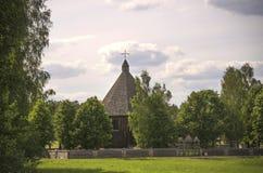 Rekonstruktion der authentischen hölzernen Kirche, Freilichtmuseum, Litauen Lizenzfreies Stockfoto