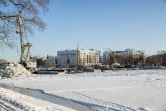 Rekonstruktion der Brücke, St Petersburg Lizenzfreie Stockfotos