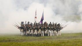 Rekonstruktion des Kampfes von Borodino kare Stockfotos