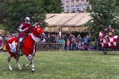rekonstruktion för riddare för stridfestival historisk Royaltyfria Bilder