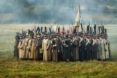 Rekonstruktion von Kämpfen des patriotischen Krieges der Stadt Maloyaroslavets mit 1812 Russen Lizenzfreies Stockfoto