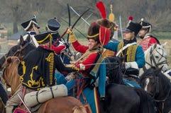 Rekonstruktion von Kämpfen des patriotischen Krieges der Stadt Maloyaroslavets mit 1812 Russen Lizenzfreie Stockfotografie
