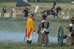 Rekonstruktion von Kämpfen des patriotischen Krieges der Stadt Maloyaroslavets mit 1812 Russen Stockfotografie