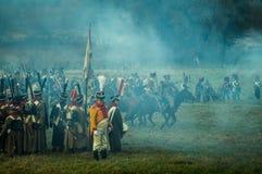 Rekonstruktion von Kämpfen des patriotischen Krieges der Stadt Maloyaroslavets mit 1812 Russen Lizenzfreie Stockbilder