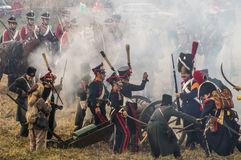Rekonstruktion von Kämpfen des patriotischen Krieges der Stadt Maloyaroslavets mit 1812 Russen Stockbild