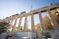 Rekonstruktionsarbeit über Parthenontempel in Athen Lizenzfreies Stockfoto