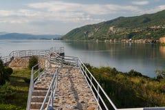 Rekonstruująca rzymianina obozu zatoka kości na Ohrid jeziorze blisko fotografia royalty free