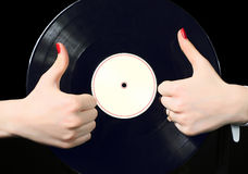 Rekord- vinyl Arkivfoton