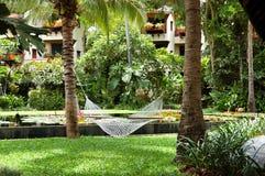 rekreation för lyx för områdeshängmattahotell Fotografering för Bildbyråer