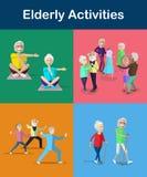 Rekreation och aktiviteter för pensionär och åldrasvuxna människor Livsstil för pensionär royaltyfri illustrationer