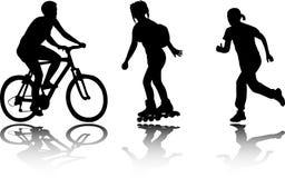 rekreationsilhouettes Arkivbild