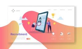 Rekrutering, het Conceptenlandingspagina van het Baangesprek Van de Karaktersu Managers van vacature Vlak Mensen de Websitemalpla stock illustratie
