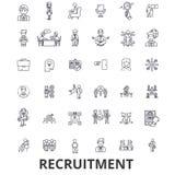Rekrutering, het huren, personeel, carrière, gesprek, werkgelegenheid, het bemannen lijnpictogrammen Editableslagen Vlak Ontwerp vector illustratie
