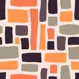 Rektangelformer räcker den utdragna abstrakta sömlösa vektormodellen Purpurfärgat apelsin, gråa kvarter på ljust - rosa bakgrund  vektor illustrationer