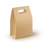 Rektangeln för papp för vektorbruntmellanrumet tar den bort handtaglunchasken som förpackar för smörgåsen, mat, gåvan, andra prod Arkivfoto