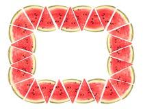 Rektangelram med vattenmelonskivor Royaltyfria Foton