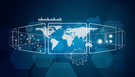 Rektanglar, världskarta och nätverk Arkivbilder