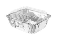 Rektangulär Aluminium folie Tray Clear Cover som isoleras på vita lodisar Royaltyfri Fotografi