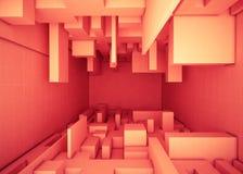 Rektangulär apelsin för abstrakt geometrisk byggnadstornask royaltyfri illustrationer
